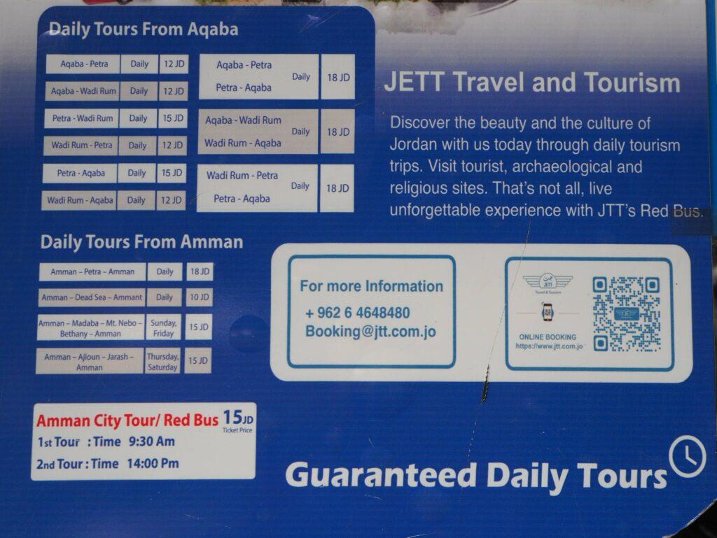 Rozkład jazdy jordańskich autobusów Jett. Akaba.